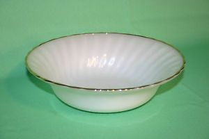 Vintage Fire King White Glass Bowl Gold Trim Anchor Hocking Dinnerware 16