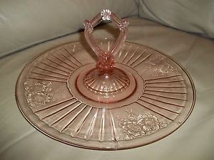 "Center Handle Tray ""Mayfair"" Pink Depression Glass by Anchor Hocking"