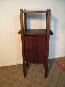 Antique Mission Style Smoking Stand Cabinet Pipe Holder End Table Arts Crafts