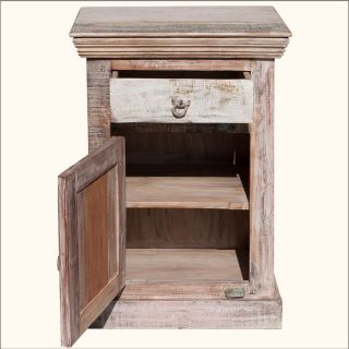 Antique White Old Reclaimed Wood Bedside Weathered End Table Nightstand Cabinet