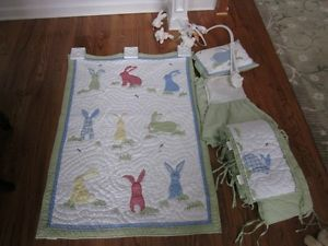 Pottery Barn Kids Infant Baby Bedding Quilt Crib Set Unisex Bunnies Green Yellow