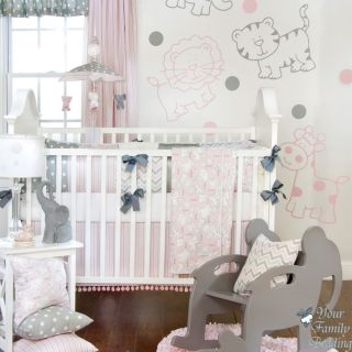 Glenna Jean Baby Girl Pink Gray Elephant Giraffe Crib Nursery Bedding Quilt Set