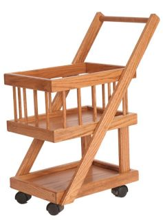 Kids Play Shopping Grocery Cart Pretend Store Solid Wood Wooden Basket Toy New