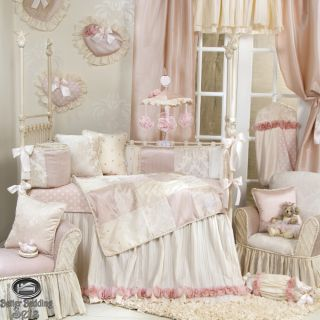 Baby Girl Pink Chic Vintage Victorian Crib Nursery Luxury Bed Quilt Bedding Set