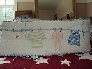 Pottery Barn Kids Baby RARE Clothesline Birds Crib Bedding