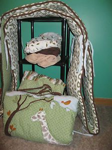 Cocalo Baby Boy Crib Bedding Set Giraffe Green Brown Tones with EXTRAS