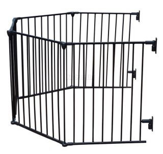 Baby Child Hearth Gate Room Divider Safety Guard Metal Play Pen 5 Panel Black