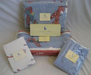 Pottery Barn Kids Baby Boy Nursery Bedding Airplanes Complete 5 PC Set Blue