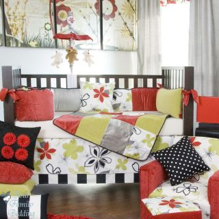 Glenna Jean Baby Girl Grey Black Red Floral Crib Nursery Best Bedding Quilt Set