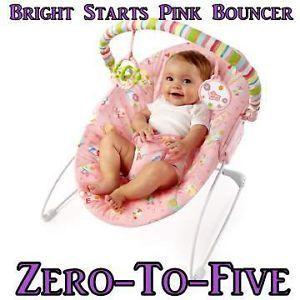 Bright Starts Alphabet Pink Quilt Baby Girl Bouncer from Birth