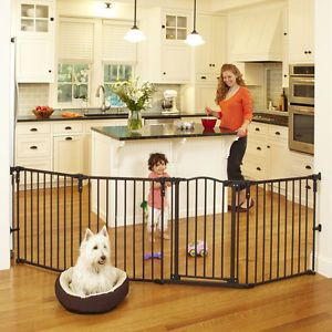 North States Superyard Arched Metal Baby Pet Gate Play Yard Bronze 4936