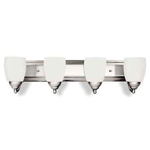 Bathroom Vanity Light 4 Lamp Brushed Nickel Fixture Wall Sconce Opal Shades 2617