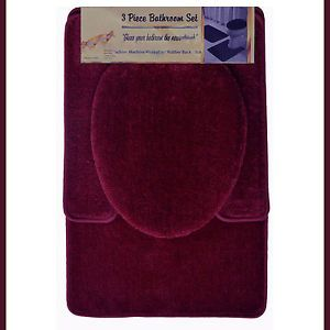 Burgundy 3 PC Bathroom Mat Rug Set Bath and Contour Rug Mat Toilet Seat Cover