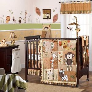 Brown Giraffe Gender Neutral Baby Boy Girl 8PC Nursery Monkey Crib Bedding Set
