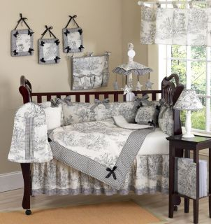 Designer Black Toile Baby Girl Boy Discount Boutique Crib Bedding Comforter Set