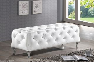 White Faux Crystal Leather Tufted Chrome Legs Bed End Bench Hollywood Chic