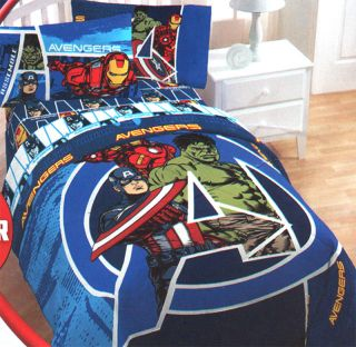 Marvel Comics Avengers Assemble Twin Full Comforter Blue Superhero Hulk Bedding