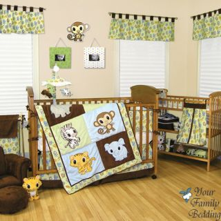Baby Boy Girl Animal Monkey Elephant Theme Crib Nursery Bedding Quilt Bed Set