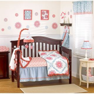 Cocalo Dahlia Girl's Crib Bedding Set Accessories 13 PC Chic Nursery Pink Blue