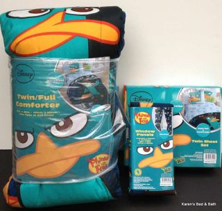 Phineas and Ferb Boys Girls Twin Bedding Comforter Sheets Curtains New