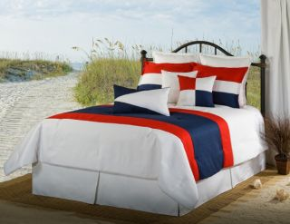 4pc White Red Navy Multi Color Nautical Style Linen Weave Comforter Set Cal King