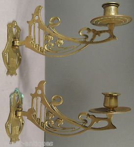 Antique Pair Brass Art Nouveau Piano Candle Sconces Wall Sconces