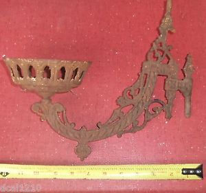 Antique Victorian Cast Wrought Iron Wall Sconce Oil Lamp Candle Holder Planter
