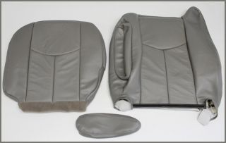 03 04 05 06 Chevy Tahoe Suburban Lt Z71 Leather Driver Bottom Seat Cover Gray