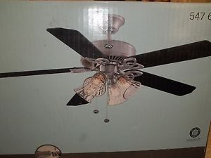 "Hampton Bay 52"" Ceiling Fan Nickel Plated w Light Kit"