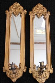Antique French Gold Wall Girandole Mirrored Candle Sconces