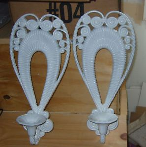 Vintage Set White Home Interiors Wall Sconces Candle Holders Burwood Wall Art