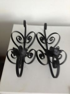 Pair of Wrought Iron Wall Sconce Candle Holder Set