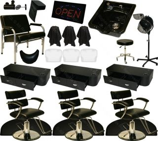 3 Xtra Wide Hydraulic Barber Chair Station Mat Bowl Dryer Beauty Salon Equipment