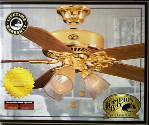 "Hampton Bay 52"" Brass Ceiling Fan with Light Kit Rosewood Oak New in Box"