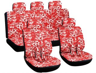 16pc Set Hawaii Floral Red SUV Auto Car Seat Covers Wheel Belt Pads Head Rests