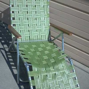 Vintage Web Chaise Lounge Chair Folding Green Lawn Furniture Beach