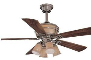 Hampton Bay Oglethorpe 52 inch Ceiling Fan w Remote Light Kit Cambridge Silver