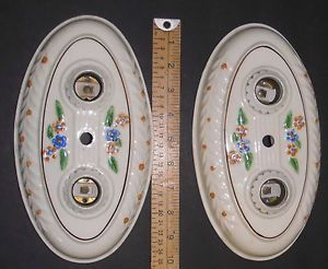 Ant Vtg Deco Pair Match 2 Light Porcelain Ceiling Fixtures Chandeliers VG Cond
