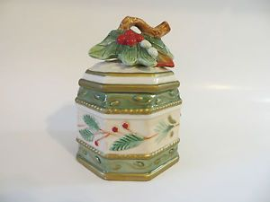 Fitz Floyd Winter Wonderland Christmas Holiday Candy Dish Covered Trinket Box
