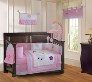 Butterfly Dreams Cute Girls Baby Crib Bedding Set 9pc
