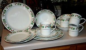 Gibson Christmas Charm Porcelain China Dinnerware Plates Bowls and Cups