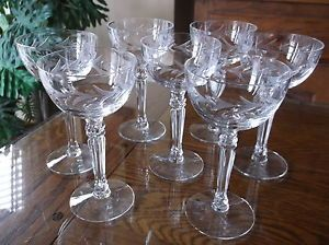 "6 Fostoria Crystal Stemware ""Holly"" Pattern Cocktail Sherbet Glasses x6 1942"