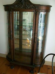 Antique Lion's Head Curved Glass Curio China Cabinet