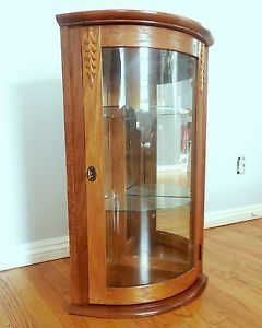 Vntg Wood Glass Table Wall Curio Lock Display Corner Cabinet Bow Curved LRG Case