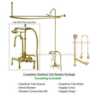 Polished Brass Clawfoot Tub Faucet Shower Kit with Enclosure Curtain Rod 7T2CTS
