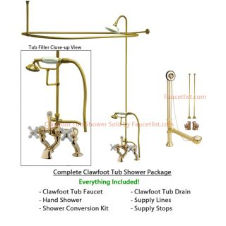 Polished Brass Clawfoot Tub Faucet Shower Kit Enclosure Curtain Rod 417T2CTS
