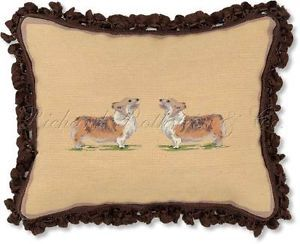 Corgi Decorative Dog Needlepoint Throw Pillow