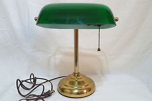 Bankers Lawyers Piano Desk Table Lamp Green Glass Shade Brass Base