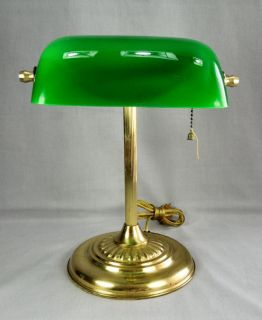 Vtg Brass Green Glass Bankers Desk Table Adjustable Lamp Student Lawyer Doctor