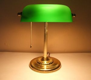 Vintage Bankers Desk Lamp Green Glass Shade Pull Chain on Off Works